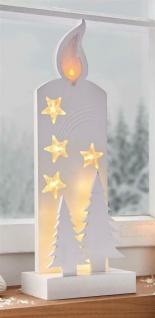 Deko LED Kerze mit Sternen & Timer, Weihnachts Advents Beleuchtung xmas Leuchte