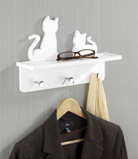 """Wenko Garderobe """" Katzen"""" aus Holz, weiß, mit 3 chrom Haken + Ablage, Wand Paneel - Vorschau 3"""
