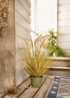 """Kunst Gras """" Steppengras"""" im Metall Topf, Antik Look, Büro Pflanze Zier Gräser"""