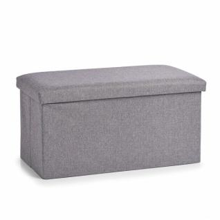 Zeller Sitz Truhe in Leinen Optik, grau, faltbar, Flur Bank Hocker Aufbewahrung