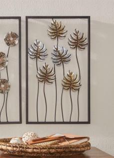 """3D Wand Bild """" Blätter"""" aus Metall, 30x50 cm, Wand Schmuck Deko Verzierung Blüten"""