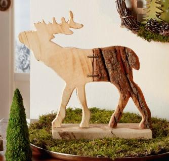 "Elch Figur "" Rinde"", 31 x 29 cm, Natur Deko Tier Objekt rustikal, Echt Holz"