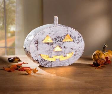 LED Kürbis 'Birkenrinde? Halloween Gruselkürbis Tisch Licht Leucht Deko - Vorschau 1