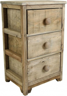 Kommode mit 3 Schubladen aus recyceltem Holz im Used Shabby Look, Nacht Schrank