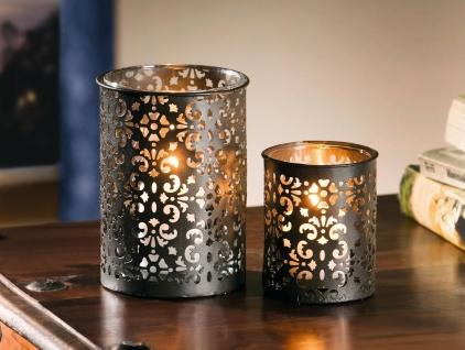 """2 Metall Windlichter """" Paisley"""" anthrazit, Kerzen Ständer Teelicht Halter Vase"""