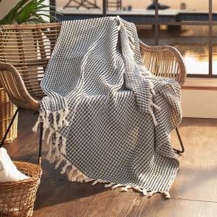 """Kuscheldecke """" Waffelpiqué"""" aus Baumwolle, 130x170 cm, weiche Sofa Couch Decke"""