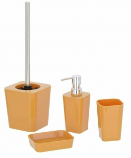 4tlg. WENKO BAD SET Candy orange WC GARNITUR SEIFENSPENDER ZAHNPUTZBECHER