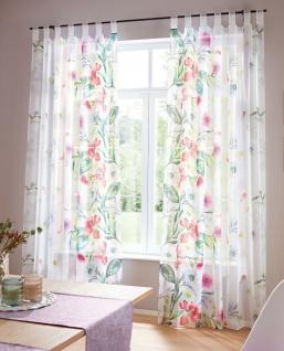 """2x Deko Schal """" Blütenbrise"""" weiß, 140x240 cm, Schlaufen Vorhang Gardine Set"""