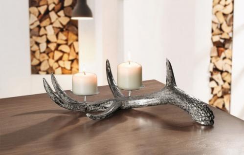 """Kerzen Ständer """" Geweih"""" silber, 2er Teelicht Halter Weihnachten Landhaus Deko"""