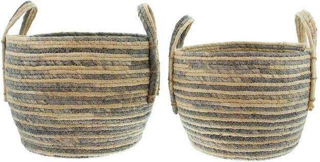 2x Korb aus Maisblatt natur / grau, Ø 26 + 31 cm, Über Topf Pflanz Aufbewahrungs