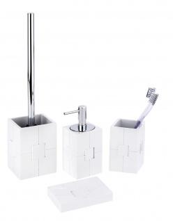4tlg. WENKO Bad Set HOUSTON weiß im 3D Design inkl. WC Garnitur Seifenspender