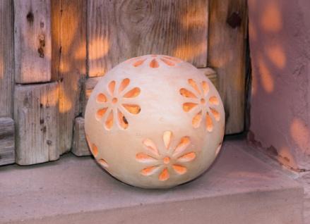 """Windlicht Kugel """" Blüten"""", Terracotta, Garten Deko Kerzen Teelicht Halter Ständer"""