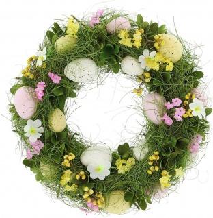 Frühlings Osterkranz Ø 32 cm Deko Kranz Oster Eier Blumen Kerzen Halter Ständer - Vorschau 2