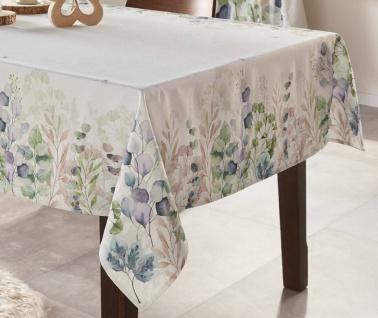 """Tafeldecke """" Symphonie"""" 140x240 cm, weiß, Tisch Decke Tuch mit Blüten Motiv"""