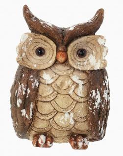 Winter Deko Eule in Holz + Rinde Optik, 26 cm hoch, Tier Vogel Figur Statue