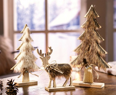 "3er Set Holz Deko "" Tannen & Hirsch"" rustikal Herbst Winter Weihnachten Advent"