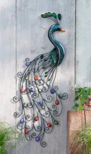 "Wand Hänger "" Pfau"" aus Metall, Antik Look, Balkon Terrasse Wand Deko Vogel Bild"