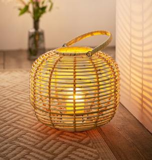Rattan Laterne mit Windlicht Glas, Teelicht Ständer Kerzen Halter Kugel Leuchte