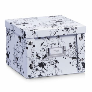 2x Zeller Aufbewahrung Box mit Deckel, weiß floral, für 26 DVD Kiste Karton