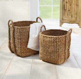 2 Körbe aus Seegras, Wäsche Korb oder Deko Blumen Pflanzen Über Topf Set