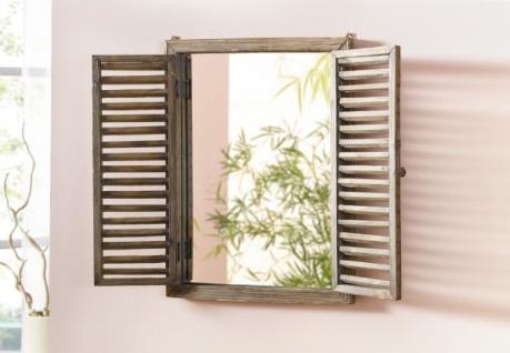 """Spiegel """" Fenster"""" im Antik Design, mit Holz Klapp Läden braun, Wand Deko Fenster"""