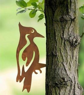 2 WENKO Baum Stecker aus Metall in Rost Optik Specht & Eule, Garten Deko Sticker - Vorschau 3