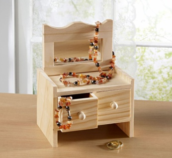 Schmuck Kästchen aus Holz mit 2 Schubladen + Spiegel Schatulle Kasten Schank