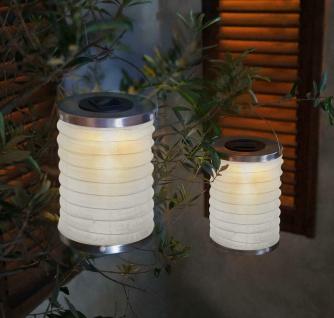 2er Set LED Lampion Solar Garten Leuchte Camping Lampe Hänger Deko