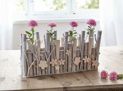 """Vase ?Holzblume"""" Deko Tisch Blumen Glas Vasen Flasche + Holz Blume Ast - Vorschau 1"""
