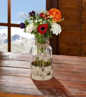 Vase 'Birkenherz? aus Glas & Holz Tisch Blumen Stehvase Deko Objekt