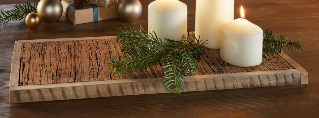 Holzbrett aus Birken Rinde, 50 x 21 cm, Holz Deko Servier Brett Kerzen Board