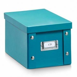 2x ZELLER CD BOX mit DECKEL petrol für 20 CD's AUFBEWAHRUNG KISTE KARTON CASE