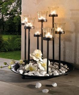 Metall Tablett schwarz mit 7 Glas Windlichtern, Teelicht Kerzen Ständer Halter