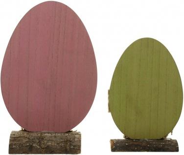 "2 Holz Eier "" Frohe Ostern"" rosa & grün, 20 + 26 cm hoch, Oster Ei Deko Figur - Vorschau 5"