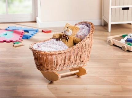 Puppenwiege aus Weide & Holz mit Kissen + Decke Puppen Schaukel Bett Möbel Wiege