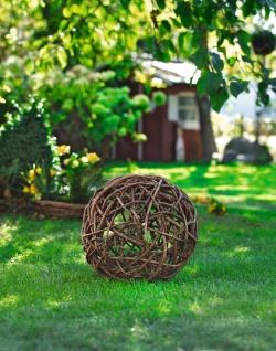 Garten Deko Kugel aus Reben Holz Ø 40 cm, rustikal Natur Rosen Weiden Ball