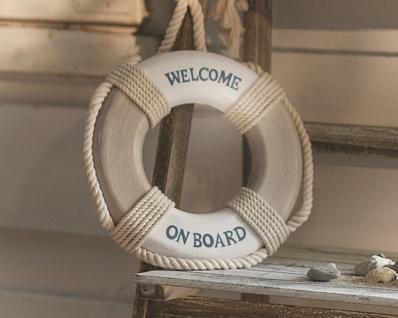 Rettungsring 'Welcome on Board? Holz maritim Deko Figur Tisch Skulptur Objekt