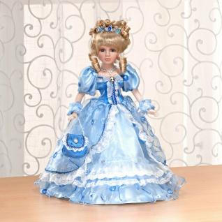 Porzellan Puppe 30cm hoch mit blauem Prinzessin Kleid + Ständer, Deko Figur