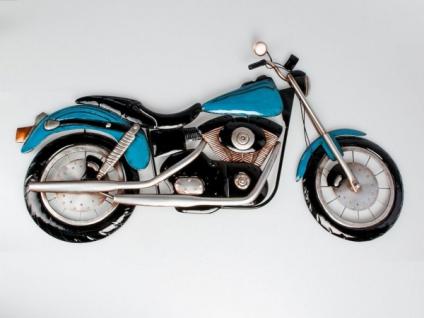 """WAND RELIEF """" Motorrad"""" 95cm Metall blau DEKO BILD SCHMUCK HÄNGER GESCHENK IDEE"""