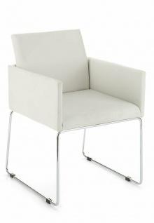 TOMASUCCI 2 er Set Design Sessel EMMA PU Leder weiß / chrom, Wohnzimmer Stuhl #