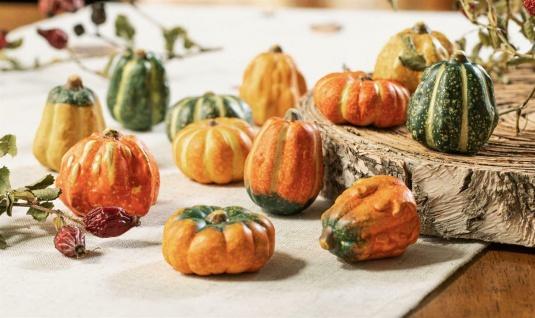 """12 Terracotta """" Mini"""" Kürbisse Halloween Erntedank Herbst Deko Kunst Obst Figur"""