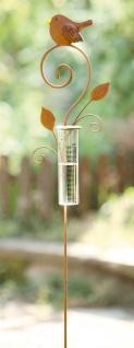 Metall Garten Stecker, Rost, mit Glas Regen Messer, Niederschlags Messung, Deko