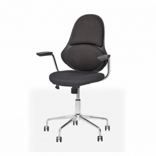 TUONI Design Büro Stuhl ZUNICA schwarz / chrom Computer PC Office Dreh Sessel