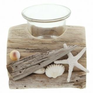"""Windlicht ?Beach"""" aus Holz natur Glas Garten Deko Kerzen Teelicht Halter Ständer"""
