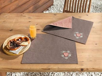 2 Platz Matten braun / rot-beige kariert mit Edelweiß Stickerei, Tisch Set Decke