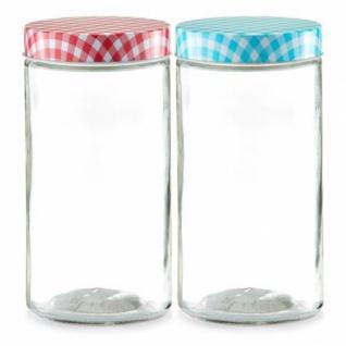 """Zeller Vorratsglas """" Country"""" 1650 ml mit Deckel, blau, Einmachtglas"""