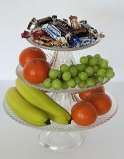 3 er Set Glas Teller mit Fuß, Etagere Torten Gebäck Obst Servier Schale Platte