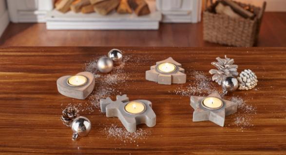 4er Teelicht Halter Winter Metall Kerzen Stander Windlicht