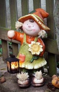 """große Mädchen Deko Figur """" Herbst"""" 40 cm hoch mit Laterne, Teelicht Halter Statue"""