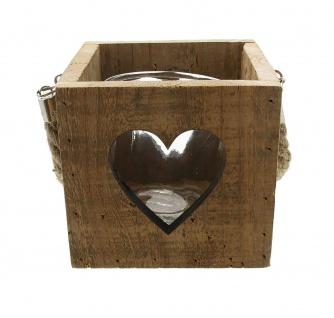 """Kerzen Halter """" Herz"""" im Shabby Look, recyceltes Holz + Glas Windlicht, Teelicht"""